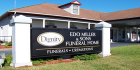 Signage at Edo Miller and Sons Funeral Home