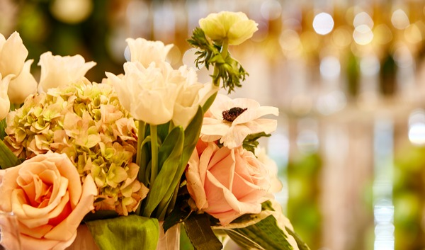 Delicate bouquet decorates a Sparkman Hillcrest reception room.