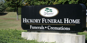 Signage at Hickory Funeral Home