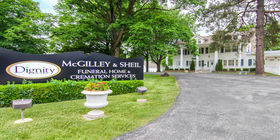 Front exterior signage at McGilley and Sheil Funeral Home and Cremation Services