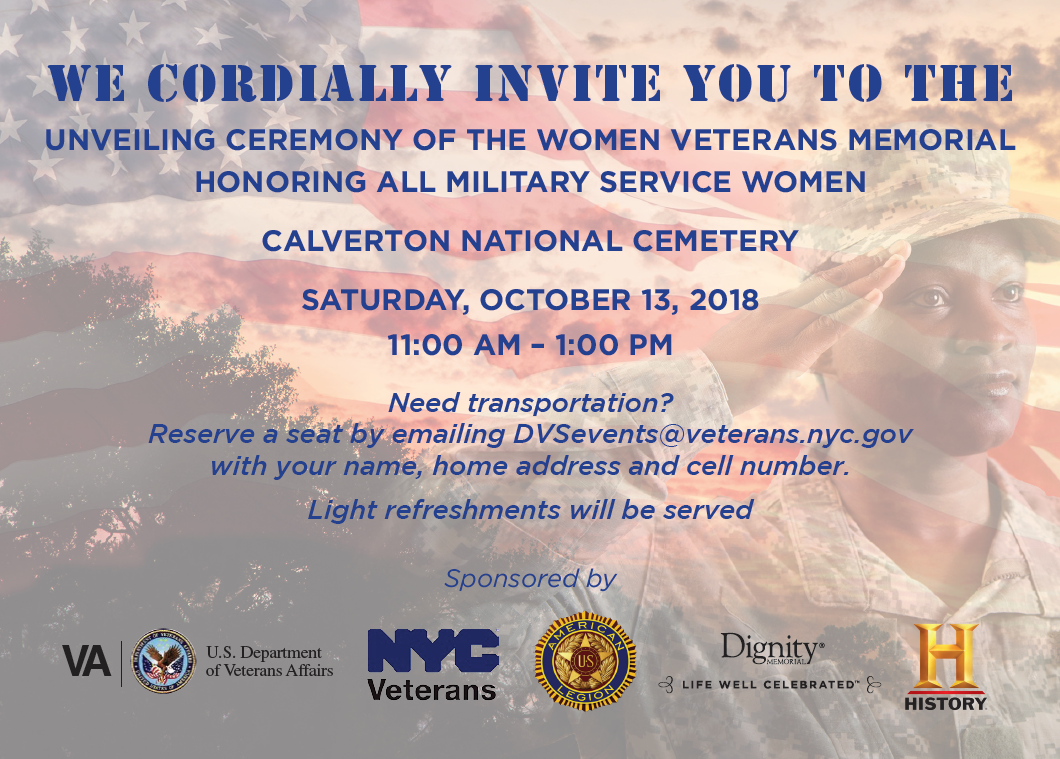 After two and a half years of hard work and dedication, we are proud to announce the unveiling of a Women Veterans Memorial at Calverton National Cemetery here in New York. The Dignity Memorial team is proud to have underwritten this project and to have passionately supported bringing it to life over the past few years. We hope that you will join us at this special event honoring all military service women.