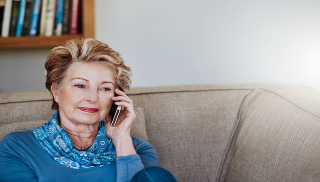 Woman calling on a phone to ask questions