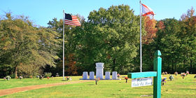 Veterans field of honor at Highland Memorial Gardens