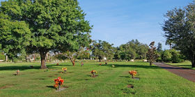 Cemetery Grounds with flat markers at Fernhill Memorial Gardens & Mausoleum