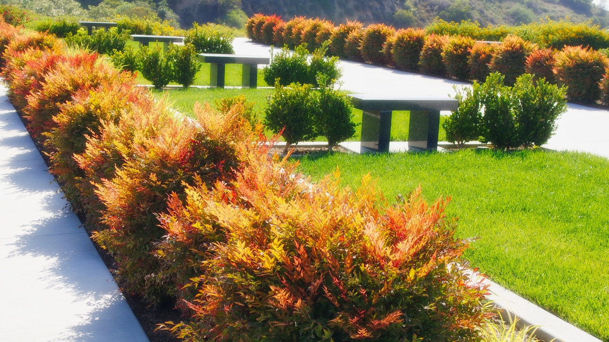 Semi-private burial garden estate with beautiful landscaping at Rose Hills Memorial Park.