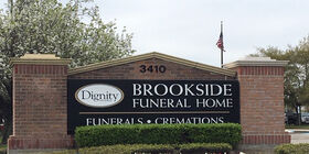 Front Signage of Brookside Funeral Home at Champions