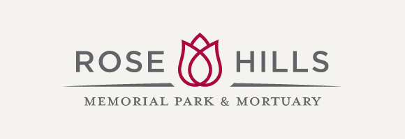 Rose Hills logo with gray background