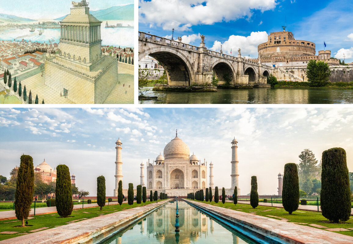 Famous mausoleums, including Taj Mahal