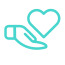 symbolic support icon of heart in a hand