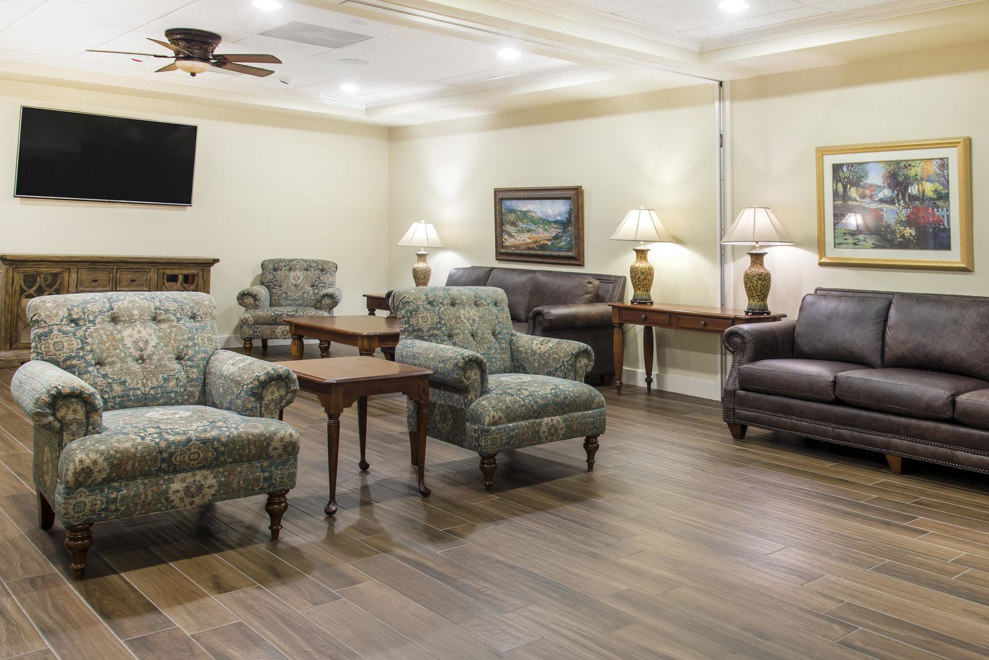 Longhorn reception room at Cook-Walden Captial Parks Funeral Home