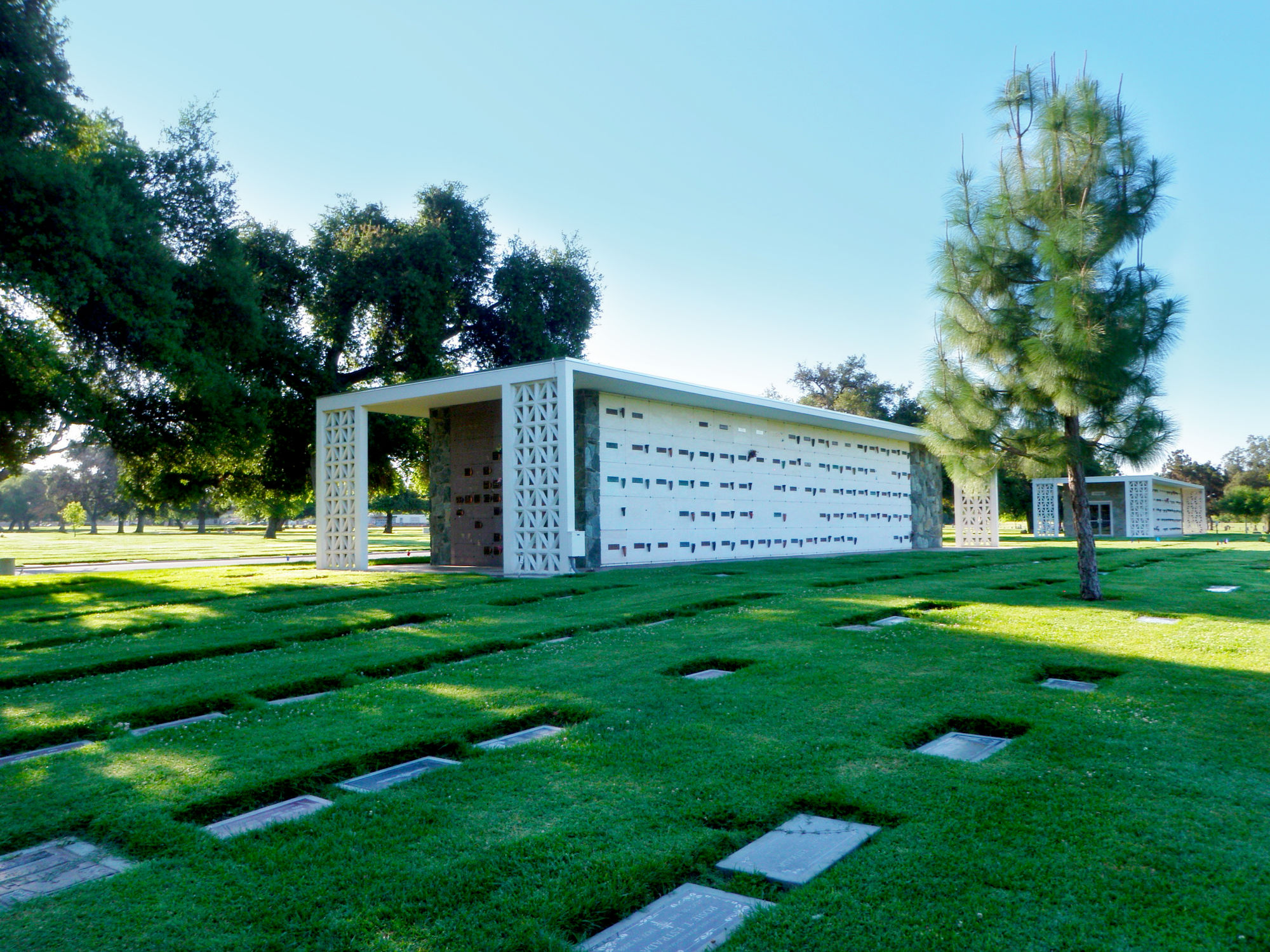 Mausoleum with columbariums at Oakdale Memorial Park.