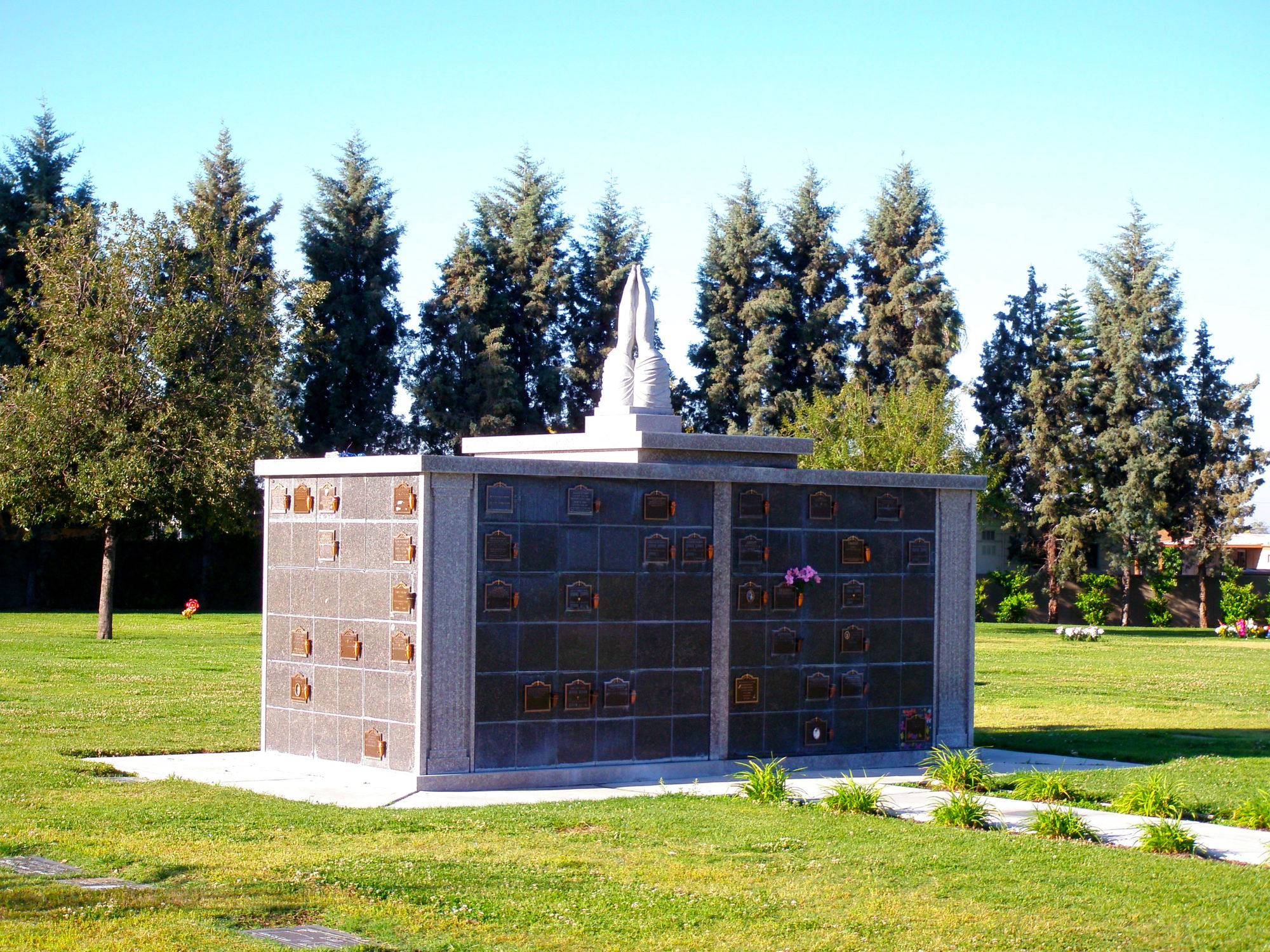 Close up view of columbarium at Oakdale Memorial Park.