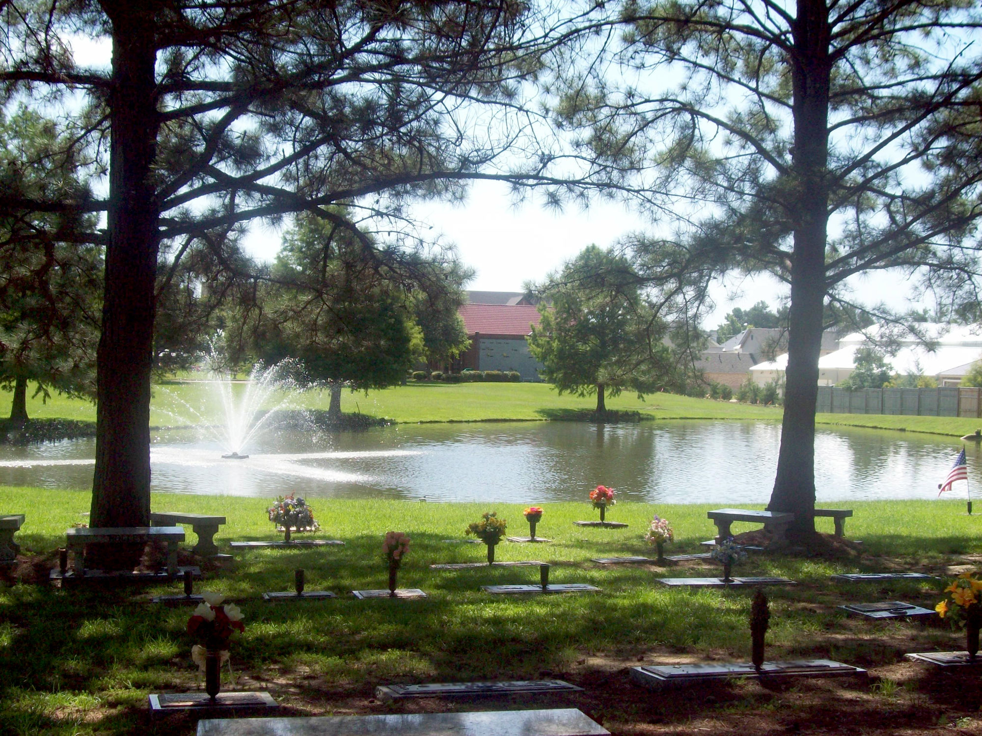 Water feature at Parkway Memorial Cemetery