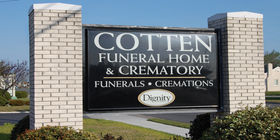 Signage at Cotten Funeral Home