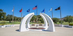 Close up view of veterans memorial at Pierce Brothers Valley Oaks Memorial Park.